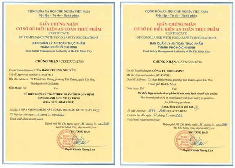 Mẫu giấy chứng nhận ATTP